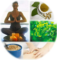 collage of meditation, massage, herbs, healthy food