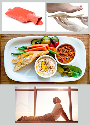 collage of images: heat pack, orthotic shoe supports, nutritious food, and a man doing yoga