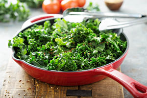 Pan of braised kale