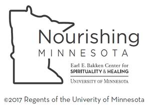 Logo for Nourishing Minnesota: The outline of the state of the Minnesota, with the name in the middle.