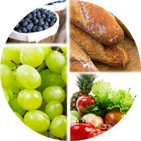 Collage of fruits, vegetables, and whole grains