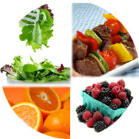 Collage of meat, vegetables, fruits