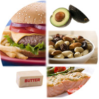 Collage of food rich omega 6 and omega 3 fatty acids