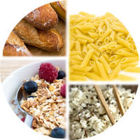 Collage of whole grains