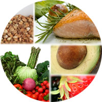 Collage of foods included in Mediterranean Diet