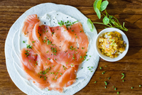 plate of salmon and healthy food