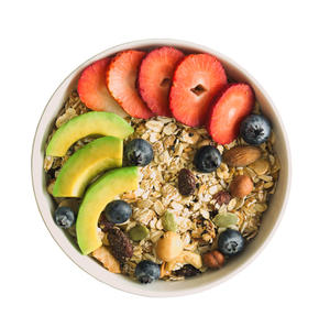 bowl of granola and fruit against a white background