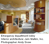 emergency department lobby with natural woodwork, enhanced social areas