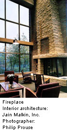 hospital lobby with fireplace and large windows