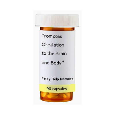 "Prescription bottle that says ""May help memory"""