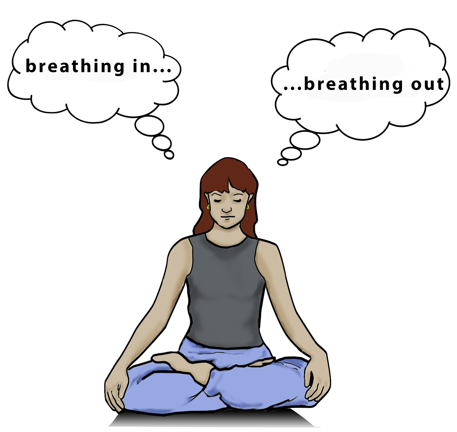 Illustration of a woman meditating, with thought bubble that say breathing in and breathing out