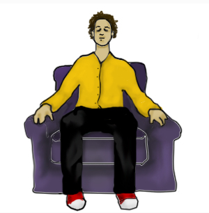 Illustration of a man sitting in a chair looking relaxed.