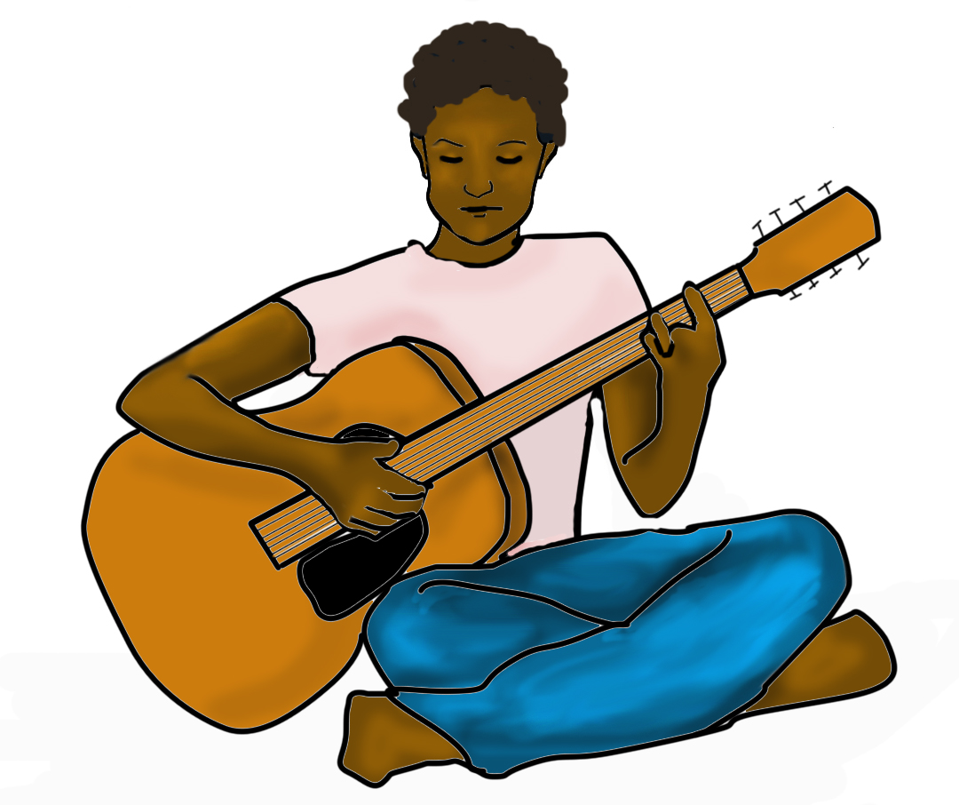 Illustration of a woman playing an acoustic guitar with her eyes closed.