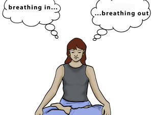 woman thinking while meditating