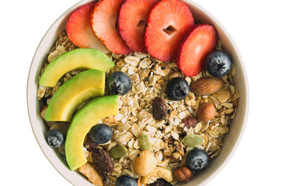 Bowl of granola with fruit