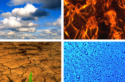 four images of clouds, fire, dry earth, and water droplets