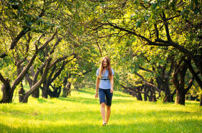 woman walking in nature